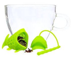 green fish infuser for loose leaf tea